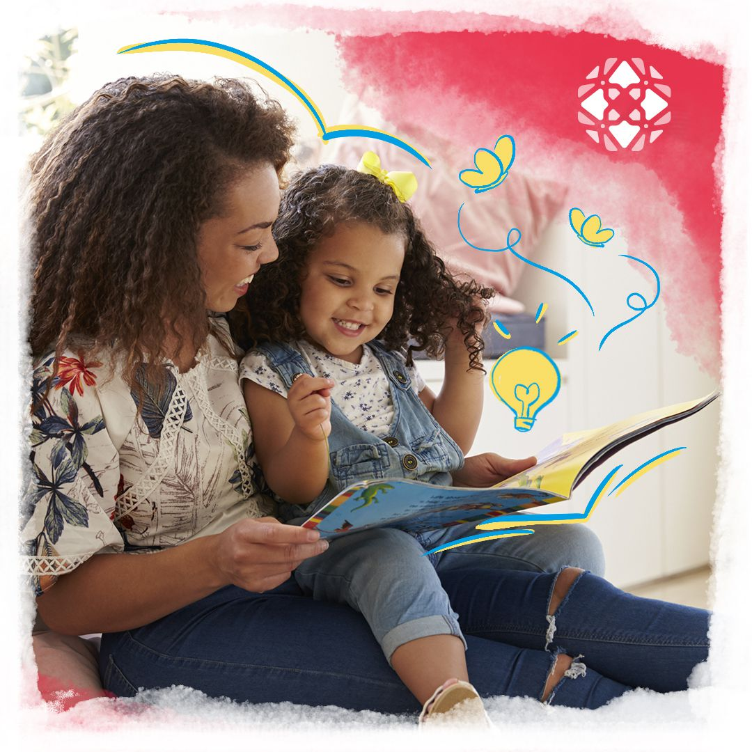 Mother and child reading a teaching story